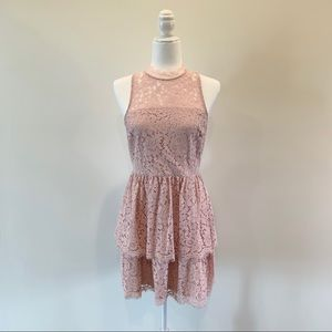 Express High Neck Lace Blush Pink Dress Size 4